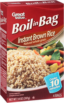 Great Value™ Boil in Bag Instant Natural Whole Grain Brown Rice 14 oz. Box