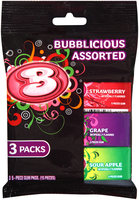 Bubblicious Strawberry/Grape/Sour Apple Assorted Bubble Gum 3-5 Piece Packs