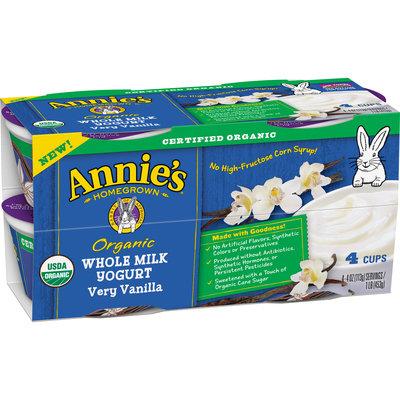 Annie's® Very Vanilla Organic Whole Milk Yogurt 4-4 oz. Cups