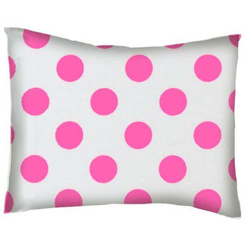Stwd Neon Polka Dots Cotton Percale Crib/Toddler Pillow Case Color: Pink