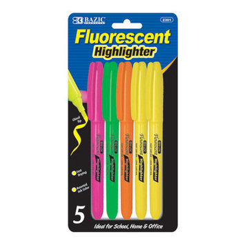 BAZIC Pen Style Fluorescent Highlighter(Case of 144)