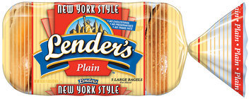 Lender's Frozen New York Style Plain 5 Ct Bagels 16.5 Oz Bag