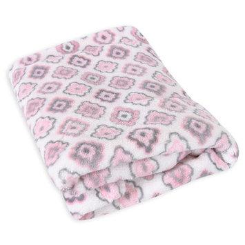 Stephan Baby White & Pink Diamond Flower Fleece Blanket