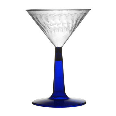 Fineline Settings, Inc Flairware Stem Rippled Disposable Plastic 6 oz. Martini Glass (144/Case), Blue