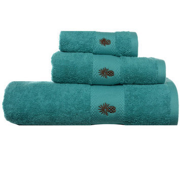 Tommy Bahama Embroidered Pineapple 3 Piece Towel Set Color: Teal