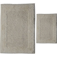 Textile Decor Castle 2 Piece 100% Cotton Naples Spray Latex Bath Rug Set, 34 H X 21 W and 40 H X 24 W, Ivory