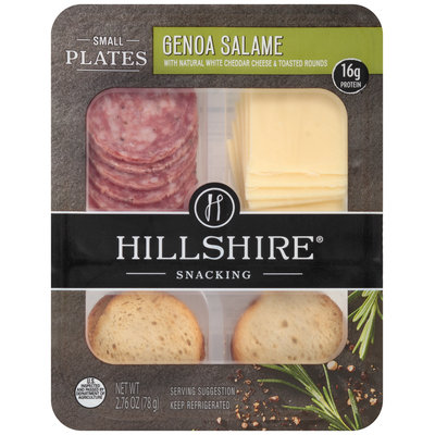 Hillshire® Snacking Small Plates Genoa Salame with Natural White Cheddar Cheese & Toasted Rounds 2.76 oz. Tray