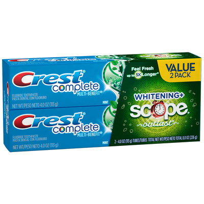 Crest Complete Multi-Benefit Whitening + Scope Outlast Long Lasting Mint Flavor Toothpaste Twin Pack 8 oz. Box