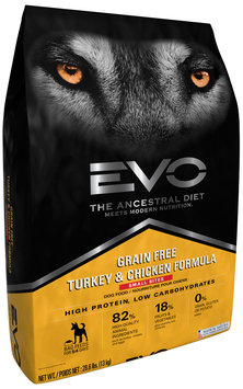EVO Turkey & Chicken Formula Small Bites Dog Food 28.6 lb. Bag