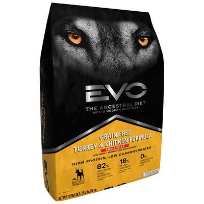 EVO Turkey & Chicken Formula Small Bites Dog Food 28.6 lb. Bag