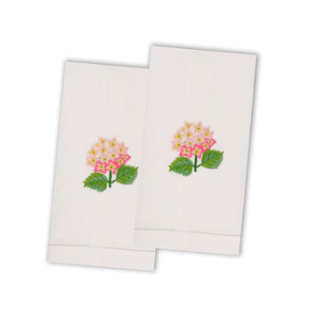 The Designs Of Distinction Hydrangea Guest Towel (Set of 2) Color: Pink
