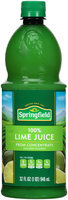 Springfield 100% from Concentrate Lime Juice 32 fl. oz. Plastic Bottle