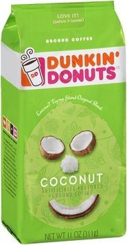 Dunkin' Donuts® Coconut Ground Coffee 11 oz. Stand up Bag.
