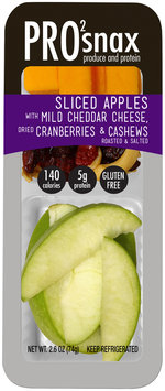 Pro2snax Sliced Apples with Mild Cheddar Cheese, Dried Cranberries & Roasted & Salted Cashews Single Serve Produce & Protein Snack 2.6 oz. Pack