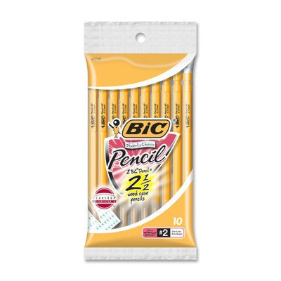 BIC Student's Choice Mechanical Pencils, No. 2, .9mm, 10/PK, Yellow