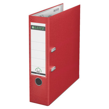 Leitz 180° 10151025 DIN A4 Plastic Lever Arch Folder 80mm Width, Red