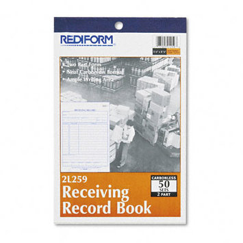Rediform Industry Forms Carbonless Receiving Record Book, Duplicate