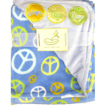 Beansprout 2 Ply Blanket Love Hugs Kisses with Peace Signs Crib Throw Color: Blue