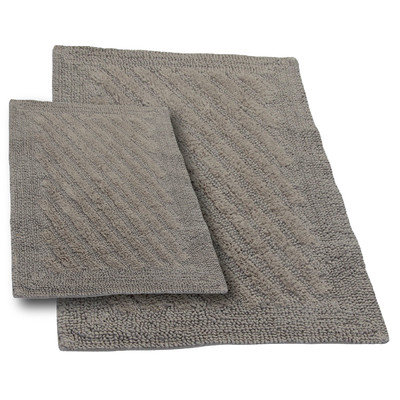 Textile Decor Castle 2 Piece 100% Cotton Shooting Star Reversible Bath Rug Set, 34 H X 21 W and 40 H X 24 W