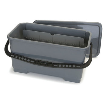 Carlisle 18 in. Rectangular Microfiber Pad and Squeegee Bucket in Gray