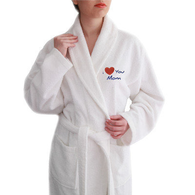 Linum Home Textiles I Love You Mom Embroidered Terry Bathrobe, Large/ X-Large