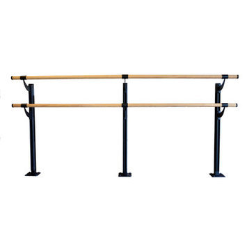 Vitavibe Floor Barre Series Traditional Wood Double Bar Ballet Barre Kit Size: 5 ft.