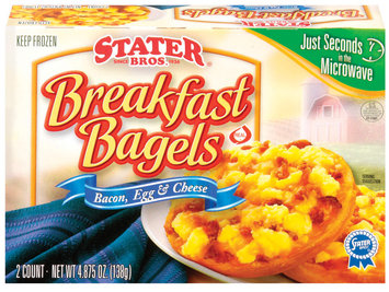 Stater bros Breakfast Bacon, Egg & Cheese 2 Ct Bagels