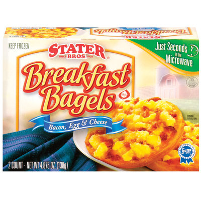 Stater Bros. Breakfast Bacon, Egg & Cheese 2 Ct Bagels 4.875 Oz Box