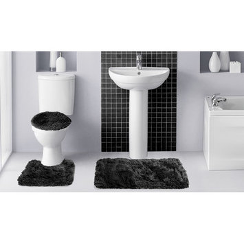 Popular Bath Products Fluff3 Piece Bath Rug Set, Black