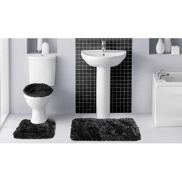 Popular Bath Products Fluff3 Piece Bath Rug Set, Black