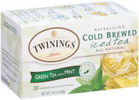 Twinings of London Green Tea Refreshing Cold Brewed Iced Tea W/Mint Tea Bags 20 Ct Box