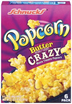 Schnucks Butter Crazy Movie Theatre 3.3 Oz Bags Popcorn 6 Ct Box