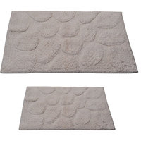 Textile Decor Castle 2 Piece 100% Cotton Palm Spray Bath Rug Set, 34 H X 21 W and 40 H X 24 W, Ivory