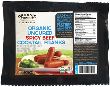 Organic Prairie® Frozen Organic Uncured Spicy Beef Cocktail Franks 12 oz. Pack