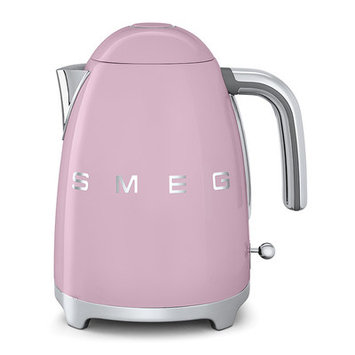 Smeg KLF01PKUS Retro Style Electric Kettle with Stainless Steel Powder Coated Body Polished Chrome Base and Handle 7 Cups Jug Capacity Double Water Indication