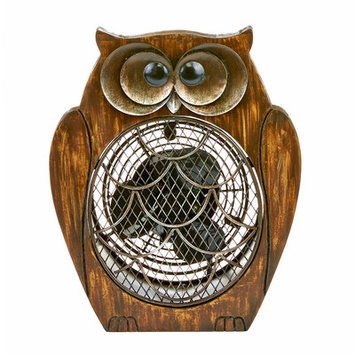 Decoflair Figurine Owl Wood Fan