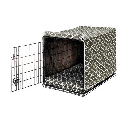 Bowsers Pet Products 10390 Small Luxury Crate Cover Graphite LatticeAcorn Piping
