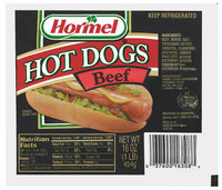 HORMEL Beef Hot Dogs 16 OZ WELL