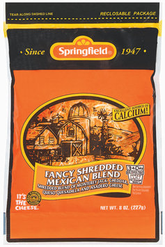 Springfield Fancy Shredded Mexican Blend Cheese 8 Oz Peg