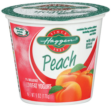Haggen 1% Milkfat Peach W/Other Natural Flavors Lowfat Yogurt 6 Oz Cup