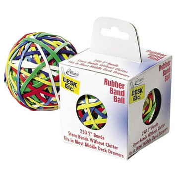Alliance Rubber ALL00159 Rubber Band Ball- 2in- 250 Bands- Assorted