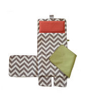 Messy Marvin Mobile Changing Pad / Cover, Green / Hot Red