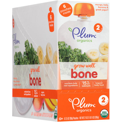 Plum Organics® Grow Well™ Bone Organic Baby Food 6-3.5 oz. Pouches