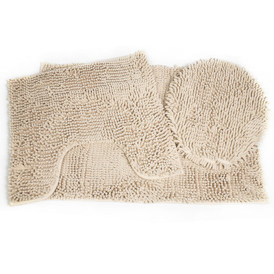 Sweet Home Collection Glenwood 3 Piece Bath Rug/Toilet Cover Set, Tan