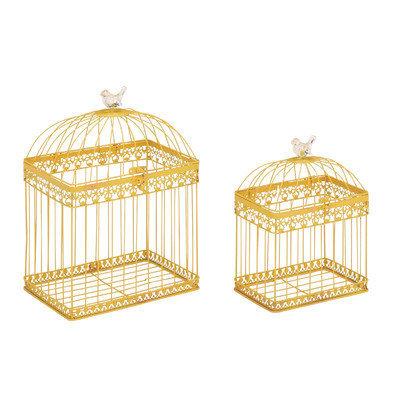 Cole & Grey 2 Piece Metal Acrylic Bird Cage Set Color: Yellow