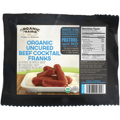 Organic Prairie® Frozen Organic Uncured Beef Cocktail Franks 12 oz. Pack