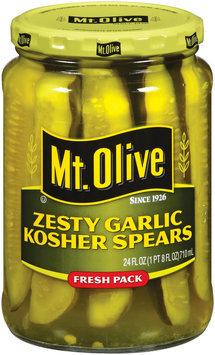 Mt. Olive Zesty Garlic Kosher Spears Fresh Pack Pickles 24 Oz Jar