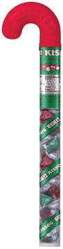 Kisses Holiday Milk Chocolates Candy Filled Cane 2.88 oz. Container