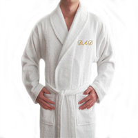 Linum Home Textiles Terry Bathrobe for Dad, Large/X-Large, White/Gold