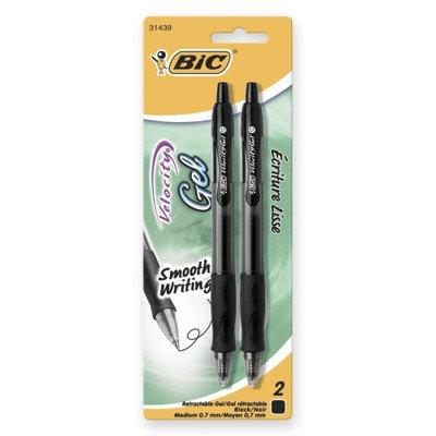BIC Gel Pen, Retractable, .7mm Point, 2/PK, Black (Set of 3)